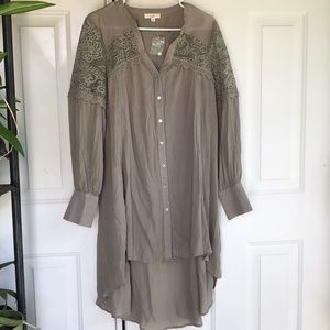Easel Anthro lace tunic boho button down size L